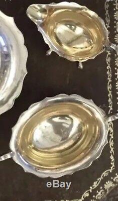 Antique Sterling Argent Massif 4 Pièces Teaset Teapot Suger Bowl Coffee Cup Jug