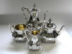 Antique Victorian Silver 4 Pieces Set De Té Londres 1852/3, Y Compris Café Pot