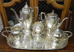 Antique Victorian Silverplate 6 Pièces Tea Coffee Set Avec Tray Ny Federal Style