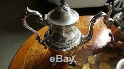Antique Vintage Coffee & Tea Set Absolument Magnifique Ensemble Argent Sur Cuivre