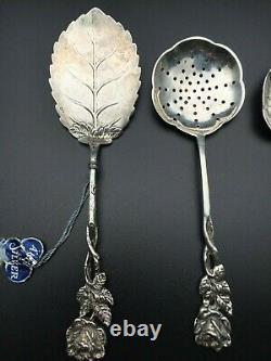 Antique Vintage Fantastic Tea Silver Tea Strainer Ensemble