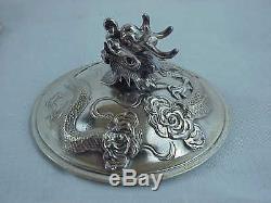 Antique Wang Hing Silver Chinese Export Dragon Perle 1420 Gram 4 Set De Thé