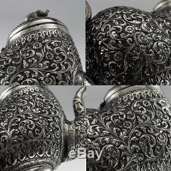 Antique Xixe Citch Indien Solid Argent 3 Pièces Set De Thé C. 1880