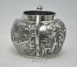 Antiquité Exportation Chinoise En Argent Massif Wang Hing Sugar Bowl Teaset Chine Qing 1880
