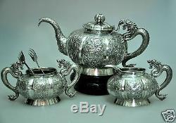 Antiquités Chinoise Chine Export Solid Silver Tea Set Pot Bowl Creamer 1880
