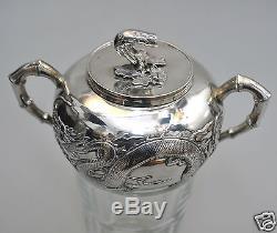 Antiquités Chinoises Chinoises Exportées En Argent Massif Teaset Teapot Bowl Creamer Wanghing