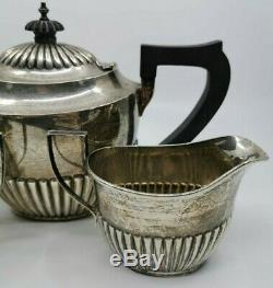 Argent 925 Tea Set Teapot Crème Et Sucre 570 Grammes Anglais