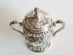Argent Fin Sterling Antique F. Whiting & Co. Thé / Café Set Chased Main