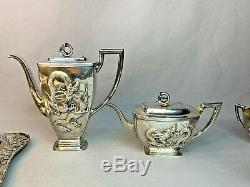 Argent Monumental Chinese Export Hongxing Tea Set Teapot Plateau Associated 4617g
