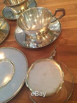 Argentor Argent Assiette Art Nouveau Déco Théière Café Tasses