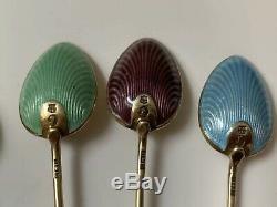 Art Déco 1928 X Coffret 6 Argent Et Émail Guilloché Tea Spoons Birmingham