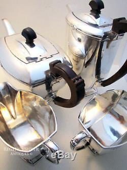 Art Deco 4 Pièces Argent Massif Teaset Coffee Pot Sucrier Lait Service Jug Thé