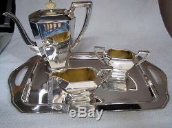Art Déco Fairfax Par Durgin / Gorham Sterling Silver 4 Pièces À Café / Thé Set Gilt