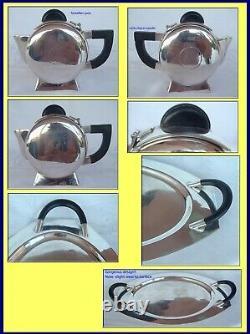 Art Déco Teaset Plateau Teapot Pot À Lait Sucrier Plaque Argent Bakélite (3951)