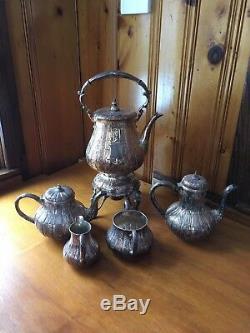 Assiette En Argent Antique Service À Thé Chasé H & L Samovar Café Thé Crémier Au Sucre