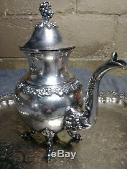 Atq Birmingham Silver Co. Service À Café Et Thé Triple Argenté Sur Cuivre