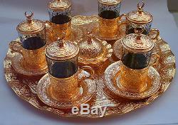 Authentique Ensemble De Café À Eau De Thé Turc 6 Tasses En Verre De Soucoupe En Carton Otomane D'or