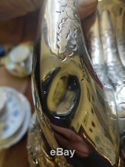 Beau Service À Thé 4 Pièces Plaqué Argent Victorien Antique