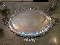 Beautiful Baroque Par Wallace 5pc Silverplate Tea Service Set No Dents No Monos