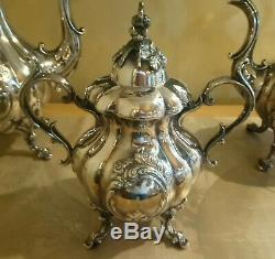 Belle Reed & Barton 1795 Shield Winthrop Silverplate 4 Pc Café Et Thé Set