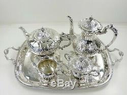 Belle Silver Tea & Coffee Service Sur Un Plateau, Birmingham 1976, Teaset 4495g