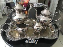Birmingham Silver Company Vintage 5 Pièce Silver Sur Le Cuivre Thé Ensemble De Café