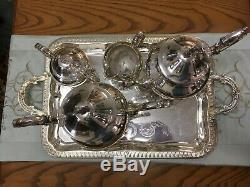Birmingham Silver Vintage'40 Co Thé, 4pc Plus Plateau