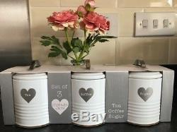 Blanc Rétro Émail Thé Café Sucre Bidons Jars Set De Coeur D'argent Jars