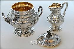 Boivin Fabuleux Service À Café En Thé En Argent Sterling À 18 Carats, 4 Pièces, Bacchus