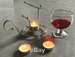 Brandy Set Chaud Avec Verre Brandy Cognac Snifter Argent Avec Lumignon Pub Bar