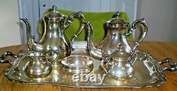 C1940 Sterling Silver Tea Set From Peru MID Century 6 Pièce Avec Plateau