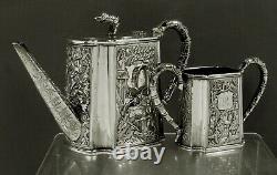 Chinois Export Silver Tea Set C1850 Cumshing