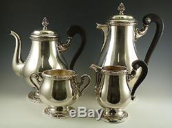 Christofle Silver Plate Malmaison Ensemble De Thé Et De Café À Motif 4 Pièces