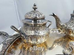 Diminutif Espagnol 5 Pièces. 915 Sterling Silver Set Thé Et Café Et Le Plateau