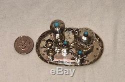 Dollhouse Sterling Miniature Argent Turquoise Tea Set Navajo Signé E. M.w. 11 Pc