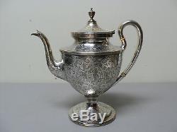Elaborate 6-pc Antique Kirk & Son Sterling Silver Coffee / Tea Set, C. 1863-1890