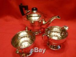 Élégant Art Déco 1937 Elkington Tea For Two 3 Piece Set Argent Thé
