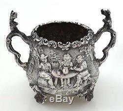 Elkington Ensemble À Thé Figuratif En Argent Teniers Style London C1883
