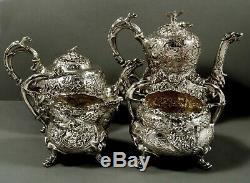 English Sterling Tea Set 1816 Edward Farrell 147 Oz