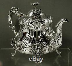 English Sterling Tea Set 1851 Pieds Maiden & Bird Spout