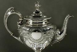 English Sterling Tea Set 1877 Néoclassique Décoré À La Main