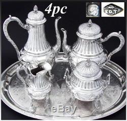 Ensemble À Café Et Thé En Argent Sterling Antique 4 Pièces, Style Louis XV Ou Empire