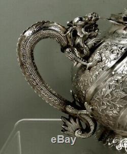 Ensemble À Thé En Argent, Exportation Chinoise, Poignées Et Bec De Dragon C1890