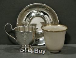 Ensemble À Thé R. Wallace Sterling 4 Tasses Soucoupes Et Doublures Lenox C1910