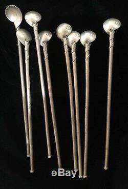 Ensemble De 8 Cuillères / Pailles À Thé Glacées Vintage Taxco Silver