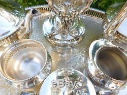 Ensemble De Bouilloire À Thé Inclinable Antique Silverplate