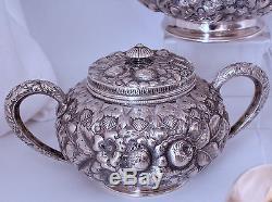 Ensemble De Café Au Thé Repousse Repas En Argent Sterling Gorham 5 Pc # 1333 Mfg Date Marque 1890