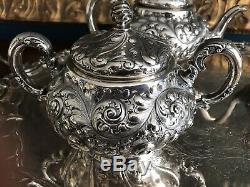 Ensemble De Café En Argent Sterling À Thé Fuchs & Beiderhase Repousse Des Années 1800 Je Caldwell
