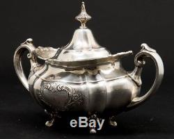 Ensemble De Café Et Thé Hampton Court Shield, 7 Pièces, Argent Sterling # 663