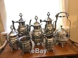 Ensemble De Collection De 7 Meriden B. Co. Silverplate Tea Coffee Service Oiseaux Victorian